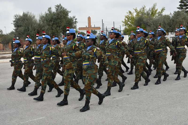 Women peacekeepers from Ghana take part in ceremonial activities and medal parades alongside their male colleagues.