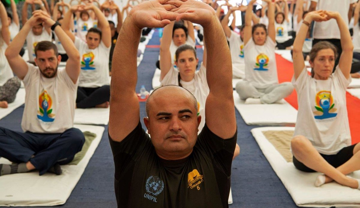Indian Peacekeepers Organize Group Yoga Session