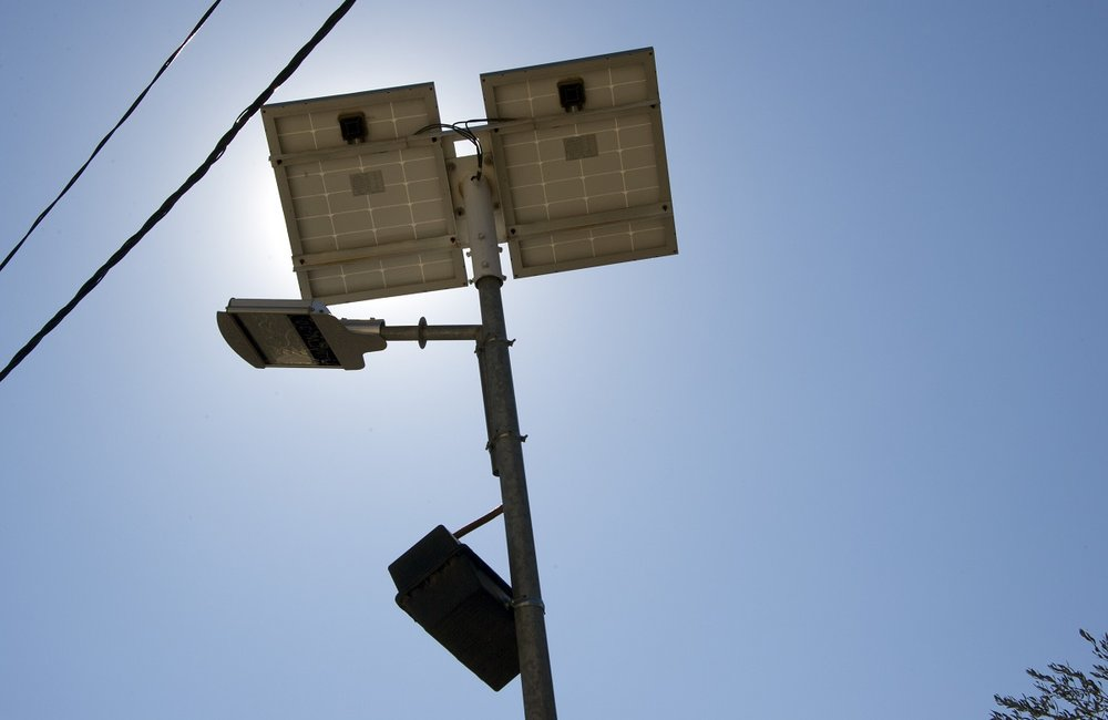 The solar powered street lights will be able to stay lit during electricity outages.