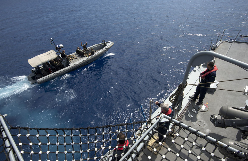 The LAF Navy boarding team departs UNIFIL's flagship UNIAO by a LAF Navy fast boat off the coast of Beirut.