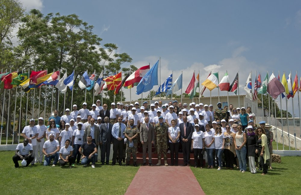 UNIFIL peacekeepers gather to commemorate 2017 World Environment Day in south Lebanon.