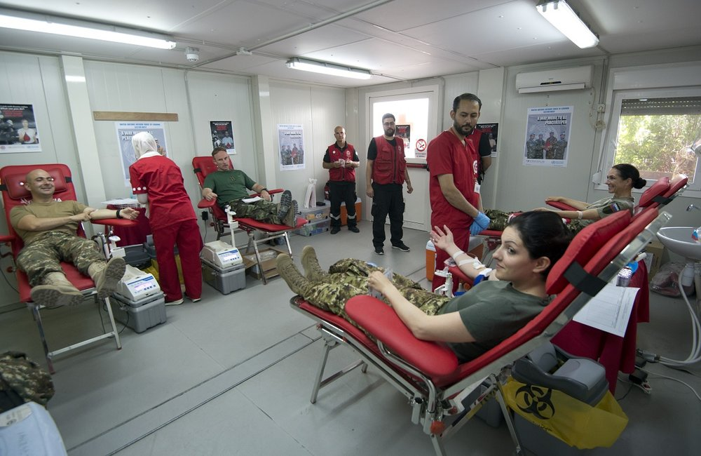 100 UNIFIL peacekeepers from Italy, Slovenia, Ireland and Armenia volunteered to donate blood.