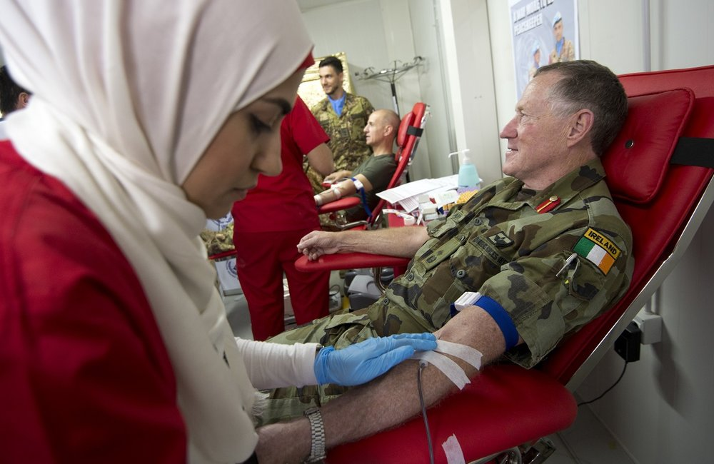 On World Blood Donor Day UNIFIL Chief, Maj Gen Michael Beary donates blood along with Brig Gen Francesco Olla, UNIFIL's Sector West Commander.