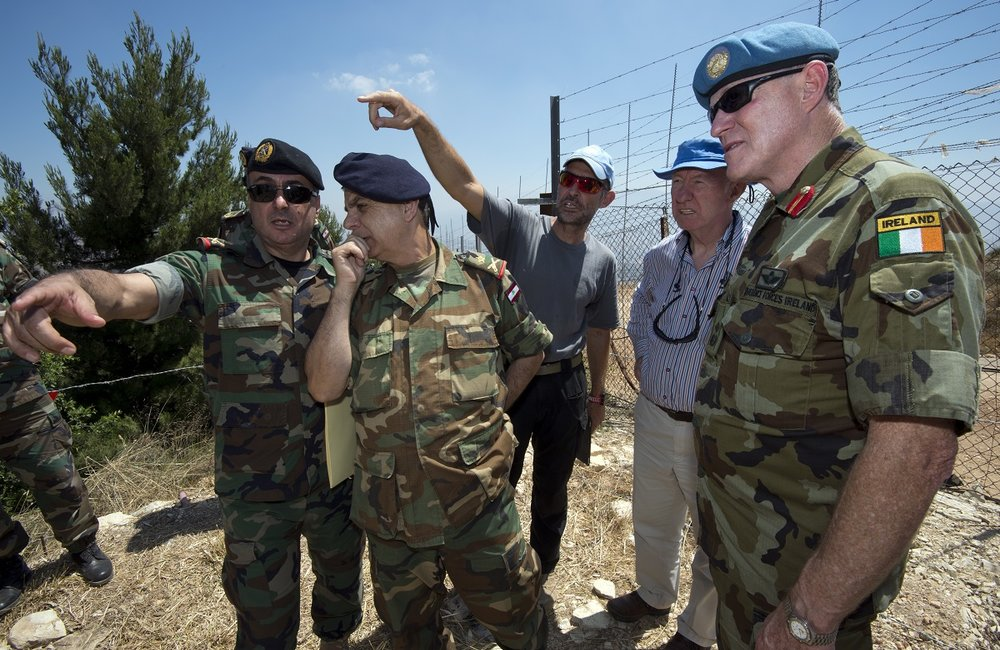 UNIFIL Commander Major General Michael Beary is briefed by UNIFIL and LAF geographical teams during the marking of a Blue Line point near the Sheikh Abbad tomb, south-eastern Lebanon.