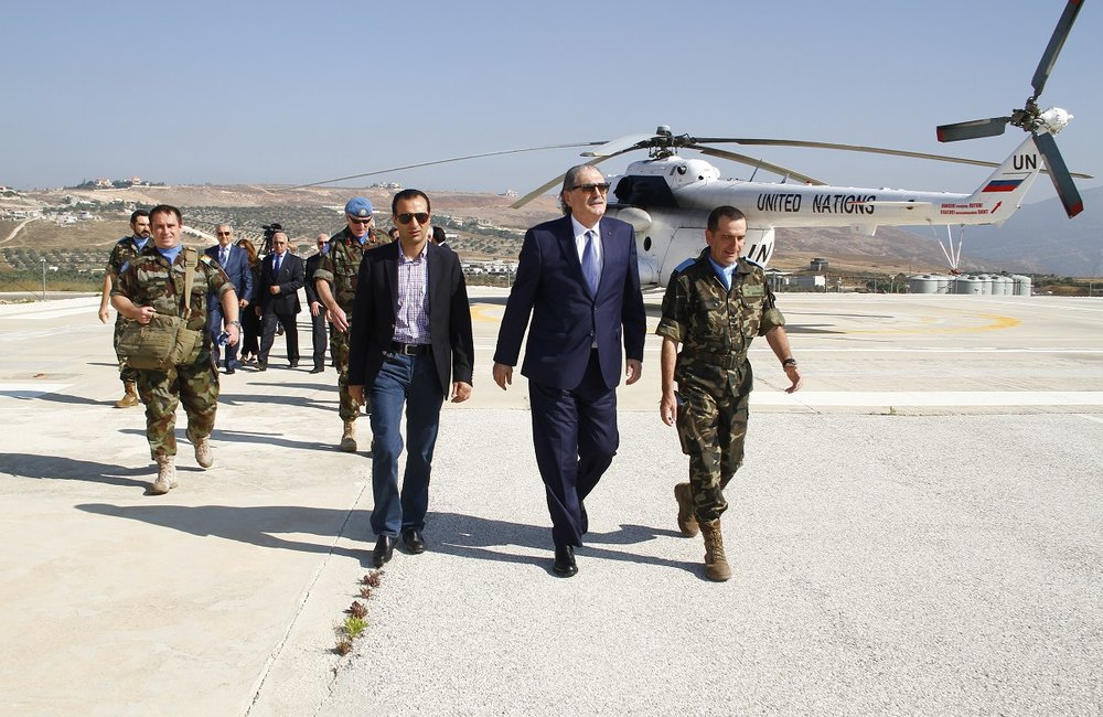 The Minister of Justice of the Republic of Lebanon, Salim Jreissati, arriving to UNIFIL's Sector East Headquarters in Marjayoun, south Lebanon.