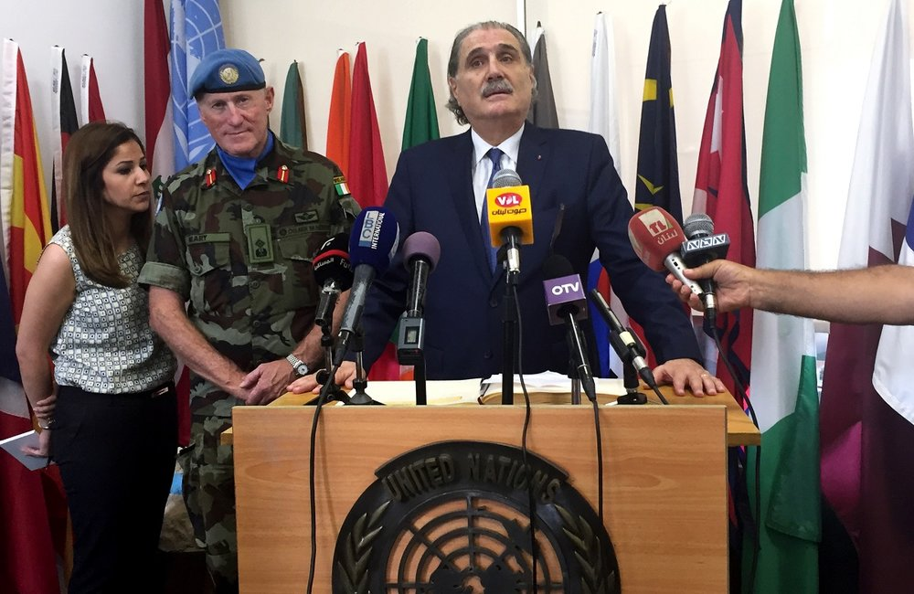 The Lebanese Minister of Justice Salim Jreissati addressing the media at UNIFIL's Headquarters in Naqoura, south Lebanon.