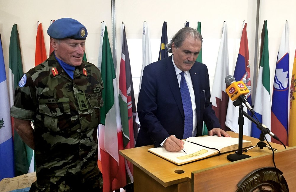 The Lebanese Minister of Justice Salim Jreissati signs the UNIFIL Book of Honour during his visit to the UNIFIL headquarters in Naqoura, south Lebanon.