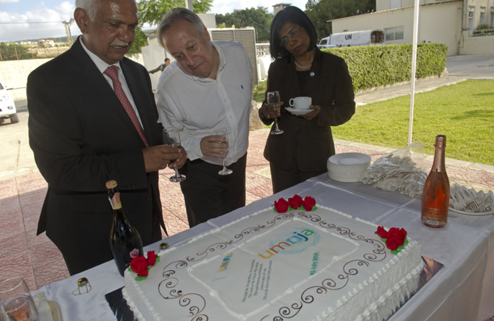 UN Under-Secretary-General for the Department of Field Support, Ms. Ameerah Haq, UN Assistant Secretary-General Enterprise Resource Planning, Mr. Ernesto Baca and UNIFIL Director of Mission Support, Mr. Girish Sinha cutting a cake at the Umoja Inaguration Ceremony at UNIFIL HQ, south Lebanon