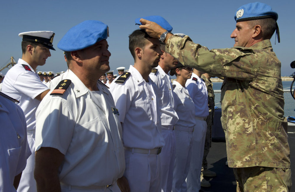 Sailors of the Andrea Doria receive the United Nations blue beret and officially join UNIFIL's peacekeeping mission as part of the Maritime Task Force.