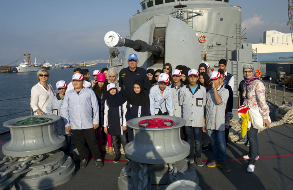 Group photo on board of the ship with the Commander of UNIFIL's MTF Rear Admiral Joese De Andrade Bandeira Leandro of Brazil.