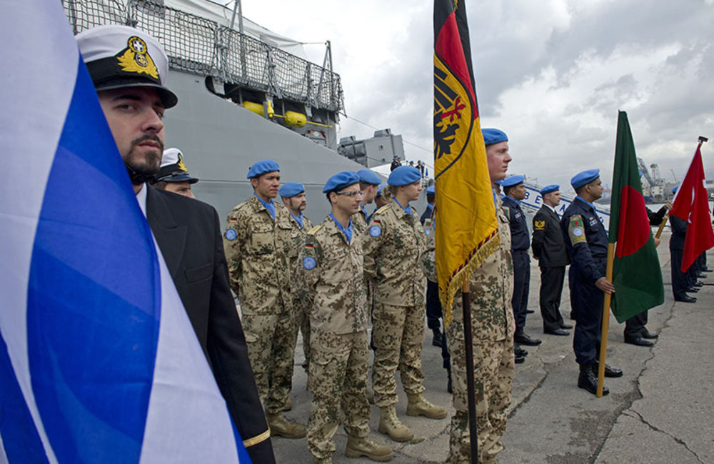 Maritime Task Force peacekeepers during the Transfer of Authority ceremony at the Beirut port, February 26th 2014.