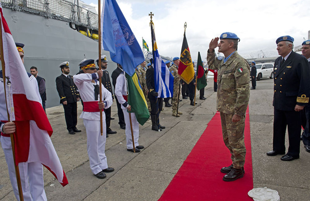 UNIFIL's Force Commander Major-General Paolo Serra and outgoing Maritime Task Force Rear-Admiral Joese Leandro reviewing guard of honor at the port of Beirut, February 26th 2014.