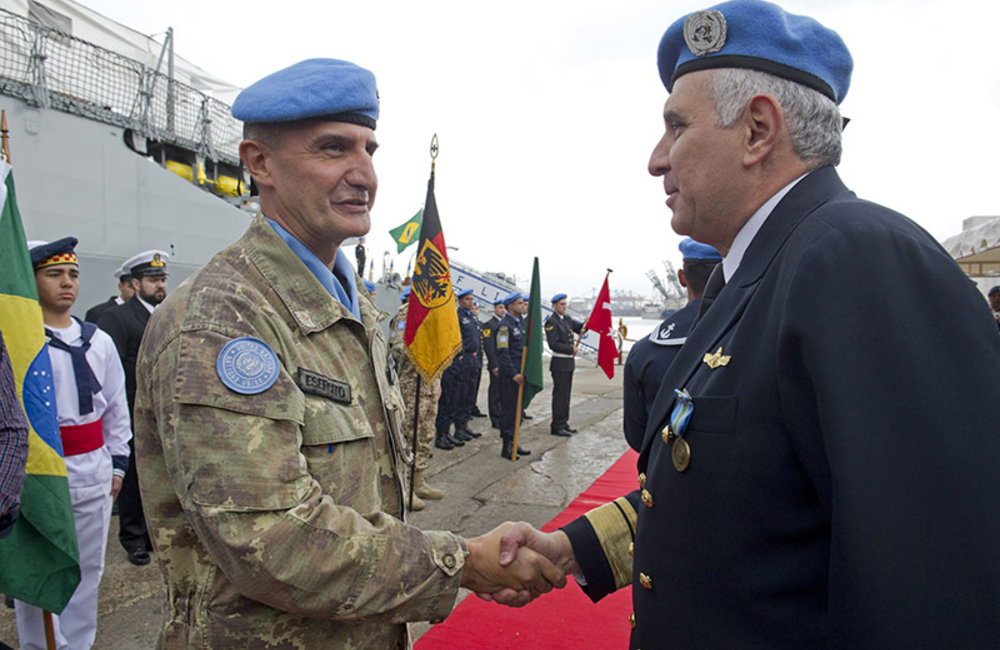 UNIFIL's Force Commander Major-General Paolo Serra and outgoing Maritime Task Force Rear-Admiral Joese Leandro during the Transfer of Authority ceremony at the port of Beirut, February 26th 2014.
