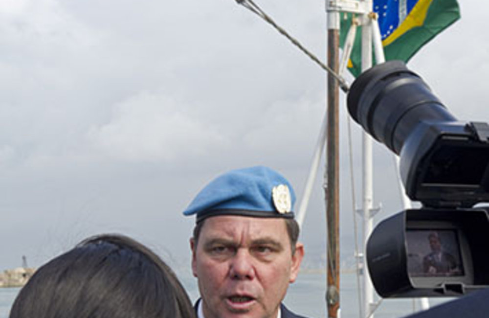 The Maritime Task Force's incoming Commander Rear-Admiral Walter Bombarda during an interview following the Transfer of Authority ceremony at the port of Beirut, February 26th 2014.