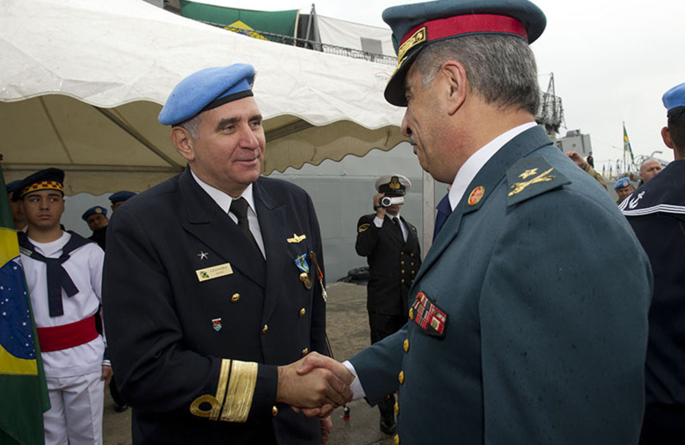 Outgoing Maritime Task Force Rear-Admiral Joese Leandro with LAF commander representative Brigadier-Genaral Michael Nahas during the ceremony of transfer of authority at the port of Beirut. February 26th 2014.