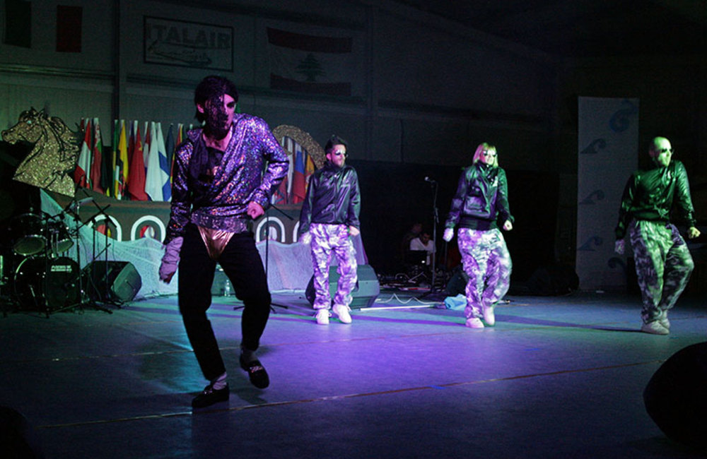 "Italian band, ""Dangerous Crew"", during a performance at the ""Music for Friendship"" at UNIFIL's headquarters in Naqoura."