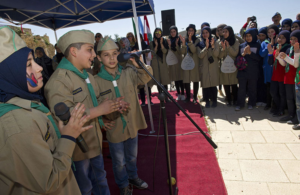 Deir Qanun public school scouts singing during World Water Day celebration held in Tyre.