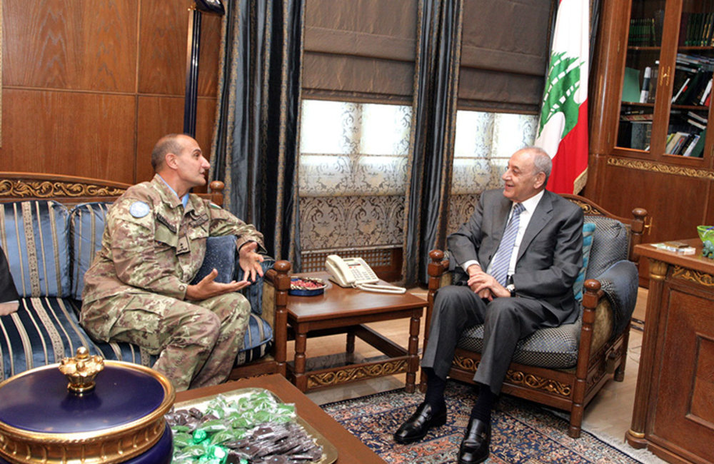 UNIFIL Head of Mission and Force Commander Major-General Paolo Serra during a meeting with Parliament speaker Nabih Berri.