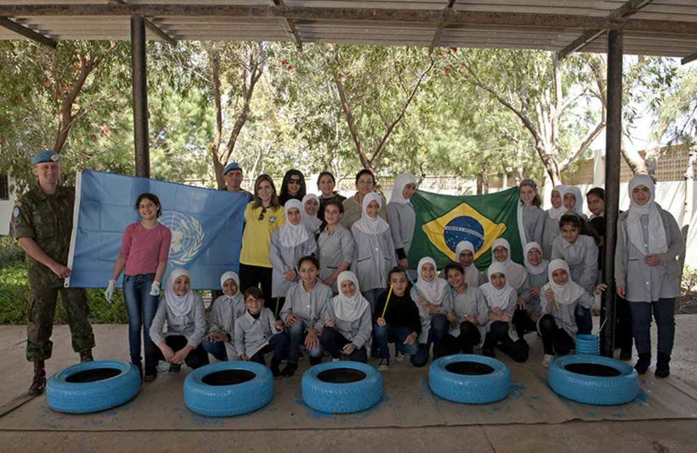 Tyre public school girls with Brazilian Maritime Task Force and UNIFIL Civil Affairs unit group picture.