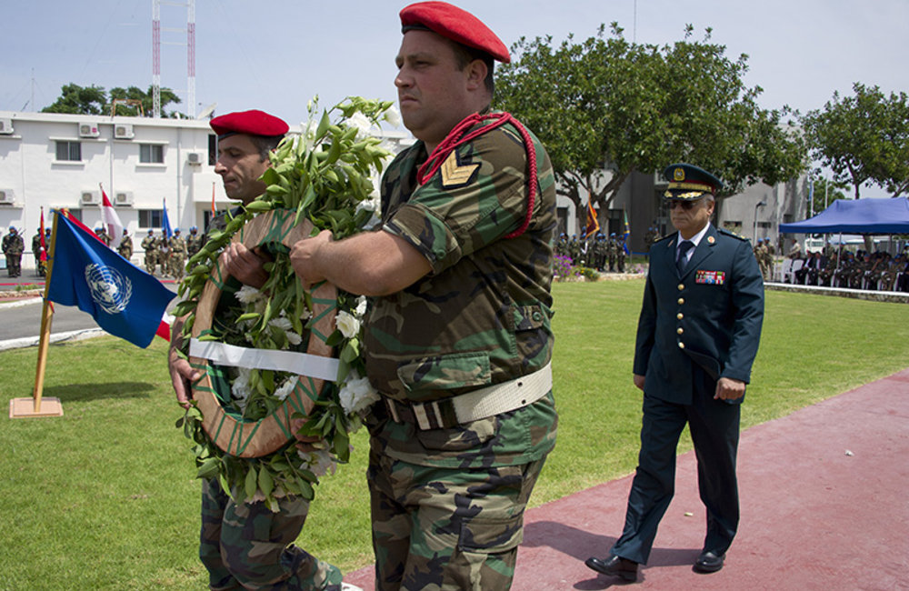 Brigadier-General Charbel Abou Khalil representing the Lebanese Armed Forces Commander, laid wreaths at UNIFIL cenotaph in memory of fallen peacekeepers.