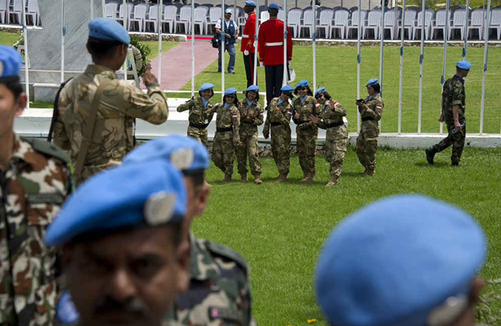 Indonesian women peacekeepers saluting at the end of the ceremony for the International Day of UN Peacekeepers held at UNIFIL's Headquarters in Naqoura, south Lebanon.