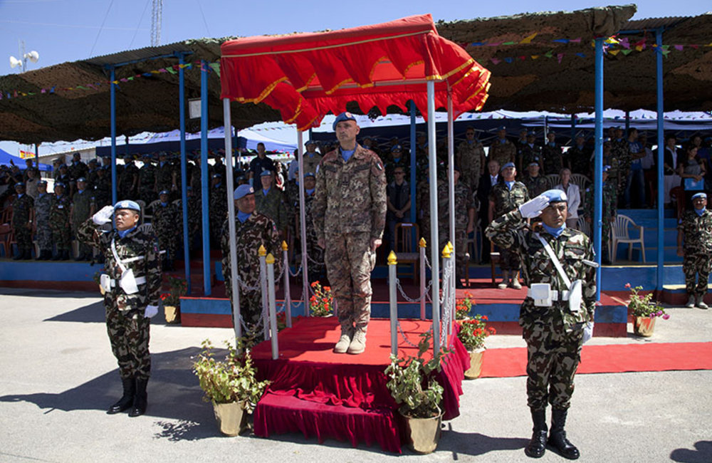Major-General Luciano Portolano, UNIFIL Force Commander and Head of Mission attends medal parade at Nepbatt Headquarters in Meiss El-Jabel, south Lebanon.