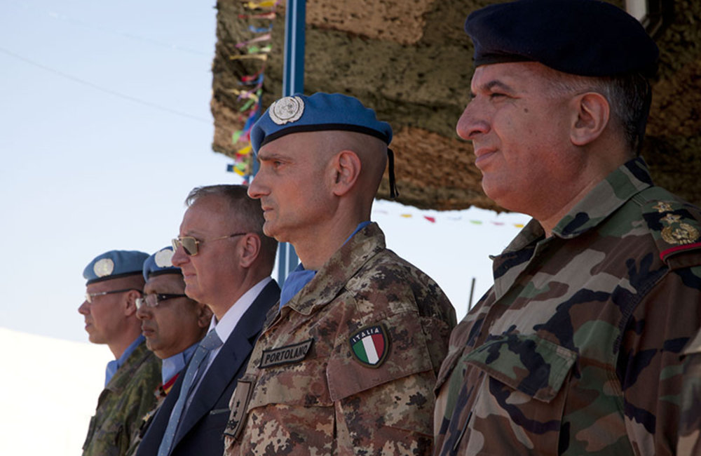 Major-General Luciano Portolano, UNIFIL Force Commander and Head of Mission, with Lebanese military and UNIFIL officials during medal parade ceremony at Nepbatt Headquarters in Meiss El-Jabel, south Lebanon.