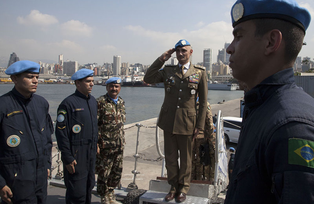 """Major-General Luciano Portolano, UNIFIL Force Commander and Head of Mission, saluting on board UNIFIL Maritime Task Force frigate """"Consituicao"""" in Beirut, Lebanon."""