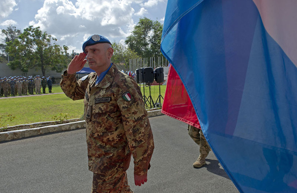 UNIFIL Head of Mission and Force Commander Major-General Luciano Portolano reviews the Guard of Honor during the International Day of Peace ceremony.