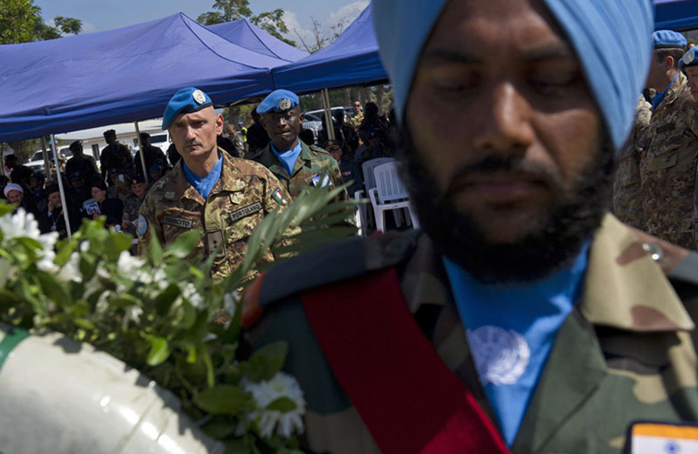 UNIFIL Head of Mission and Force Commander Major-General Luciano Portolano laying a wreath at the UNIFIL cenotaph in memory of fallen peacekeepers during International Day of Peace ceremony.