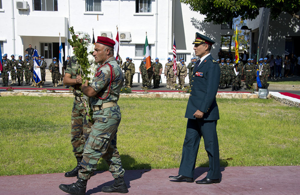 Lebanese Armed Forces Brigadier-General Mohammed Janbay laying wreaths at the UNIFIL cenotaph in memory of fallen peacekeepers during UN Day.