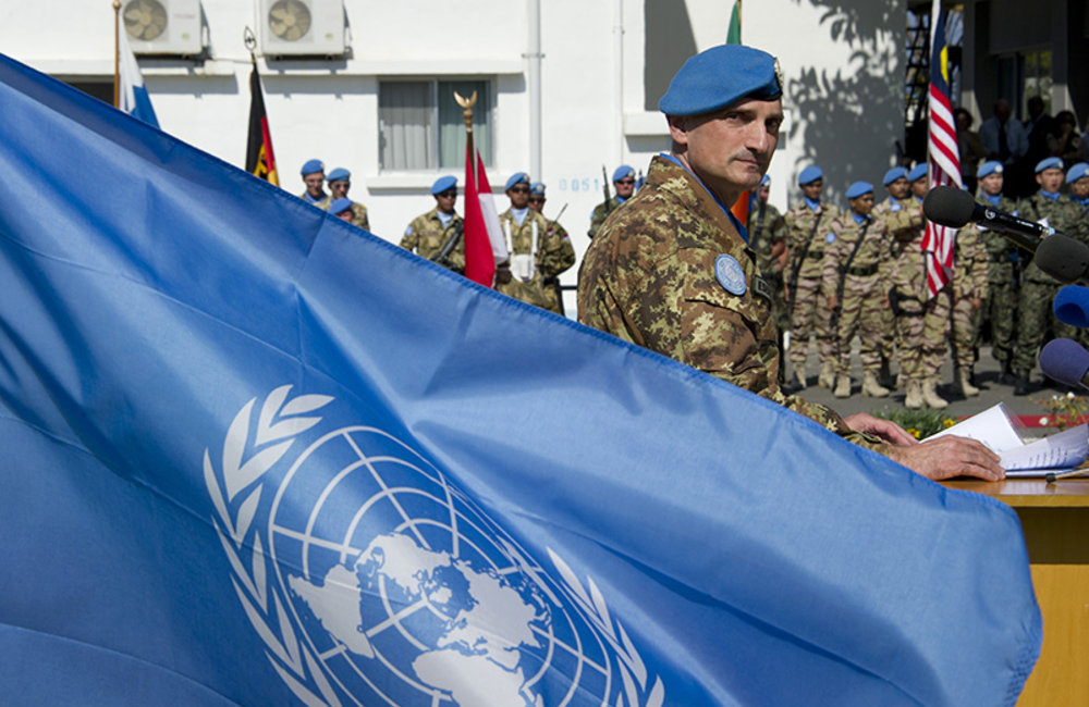 Head of Mission and Force Commander Major-General Portolano delivering a speech at the Mission headquarters in Naqoura during UN Day.