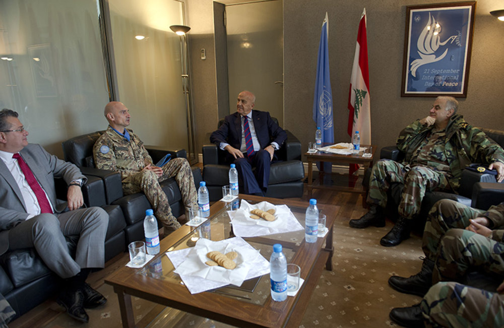 Deputy Prime Minister and Minister of Defense, Samir Moqbel and Lebanese Armed Forces Commander, General Jean Kahwaji at the office of the Force Commander Major-General Luciano Portolano during a meeting with UNIFIL officials.