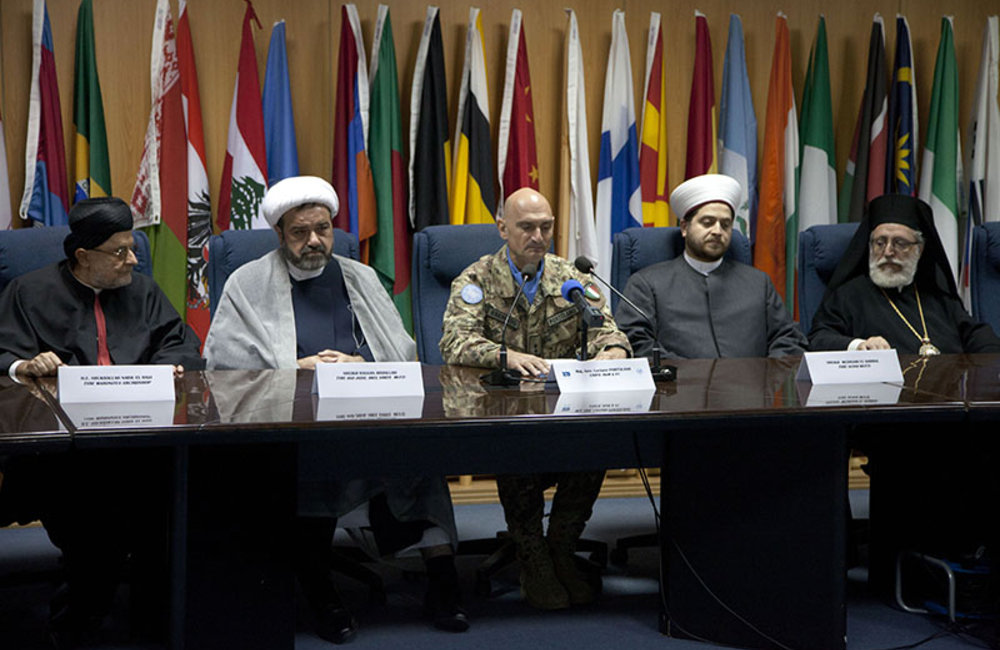 Religious leaders attend local authorities meeting at UNIFIL HQ in Naqoura, south Lebanon.