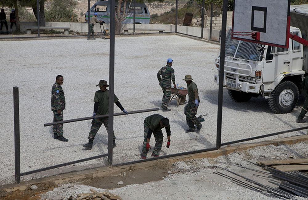 UNIFIL Malbatt engineers building mini-football field in Mazraat al-Meshref, south Lebanon.
