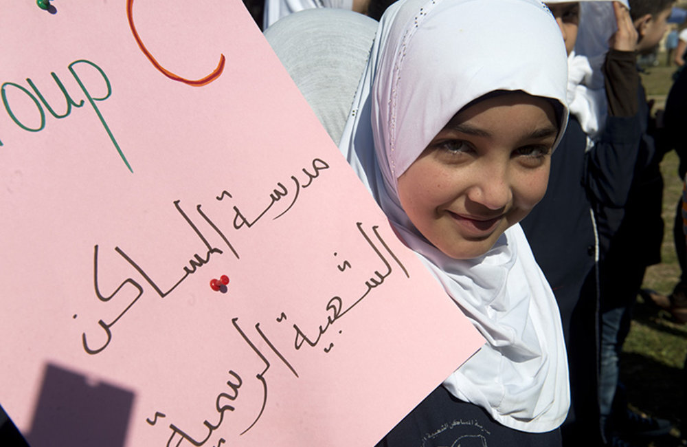 A student from the District of Tyre, south Lebanon, participating at the World Water Day celebration.