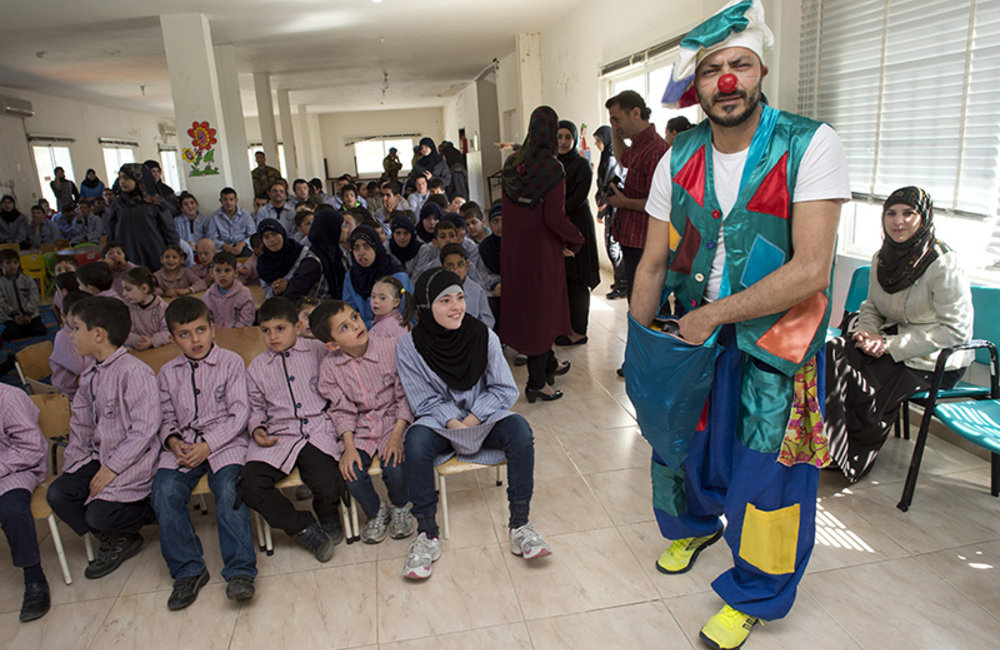 A team of Italian and Lebanese clowns during a clown therapy event organized by UNIFIL at Ayta Shaab Care Centre for Children with Special Needs.