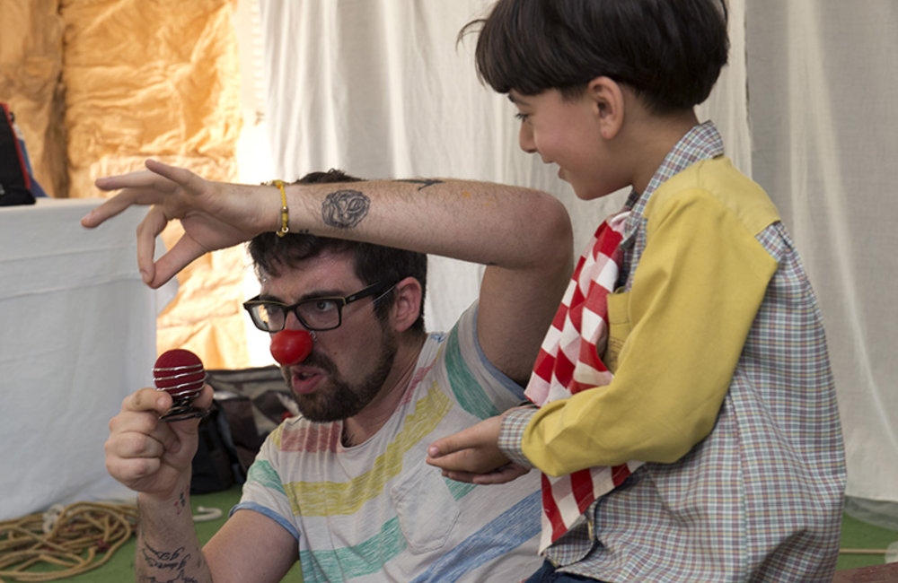 Italian clown performing at Ayta Shaab Care Centre for Children with Special Needs during clown therapy event organized by UNIFIL.