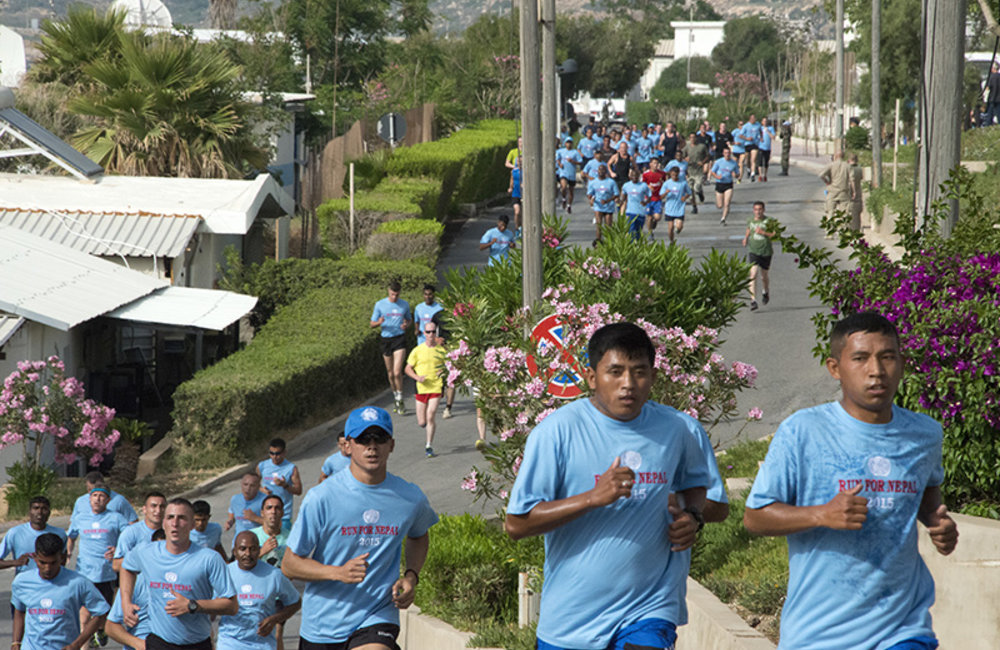 Peacekeepers from 39 troop contributing countries join the race to support Nepal.