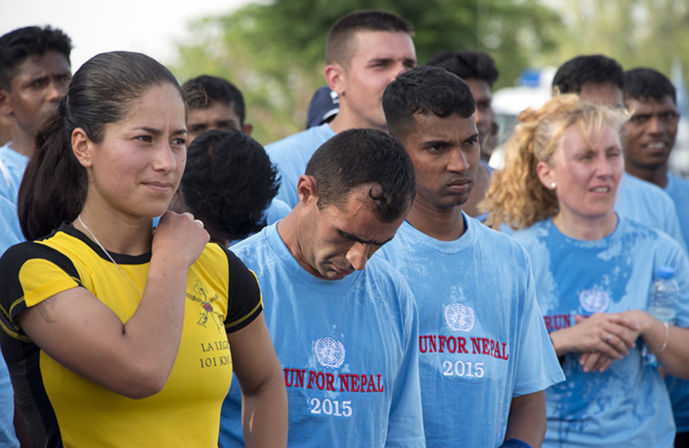 UNIFIL peacekeepers after finishing the eight km RUN FOR NEPAL.