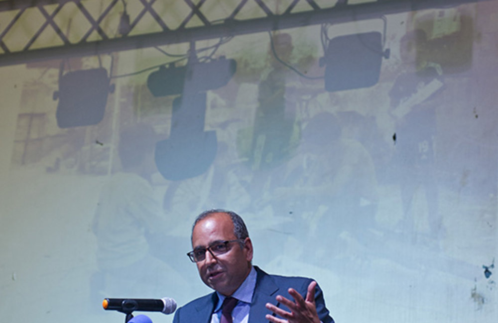 UNIFIL Deputy Head of Mission and Director of Political and Civil Affairs, Imran Riza speaking at the ceremony held at Al-Hamra cinema, in Tyre.
