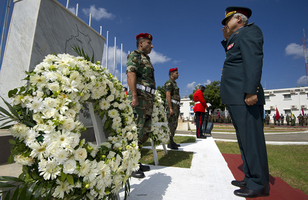 Brigadier-General François Chahine representing the Lebanese Armed Forces Commander lays a wreath in memory of fallen UNIFIL peacekeepers, at UNIFIL Headquarters in Naqoura.
