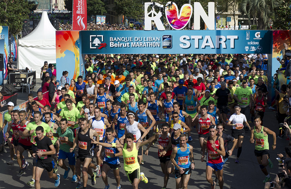 Beirut Marathon 2015 organized under the slogan: Peace, Love, Run saw over 38,000 participants, Sunday November 8th, 2015.