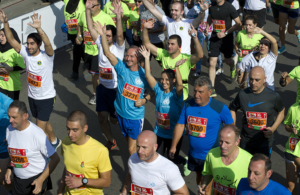 Staff members from all UN agencies in Lebanon participated in Beirut Marathon 2015 in commemoration of the 70th anniversary of the United Nations.