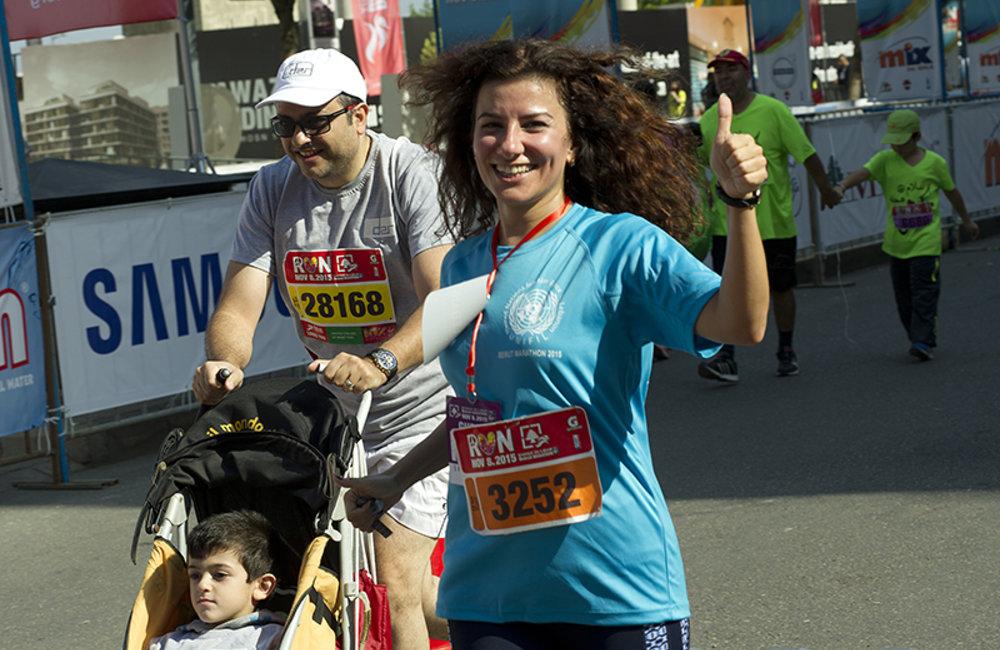 UNIFIL staff member at the finish line of Beirut Marathon 10Km Fun Race.