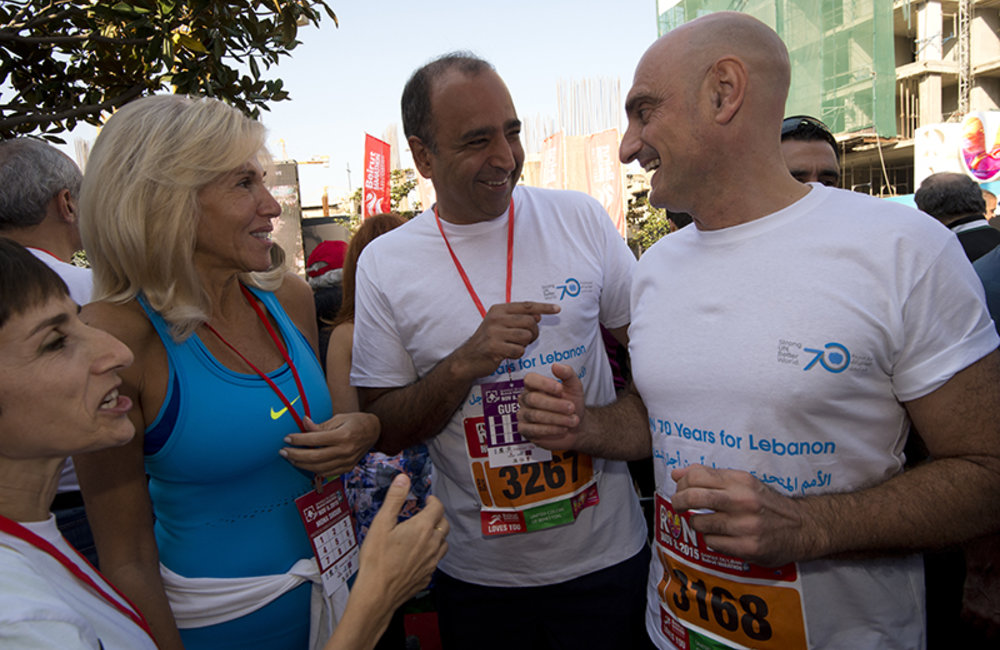UNIFIL Head of Mission and Force Commander Maj-General Luciano Portolano and Deputy Head of Mission Mr. Imran Riza with members of Beirut Marathon Association.