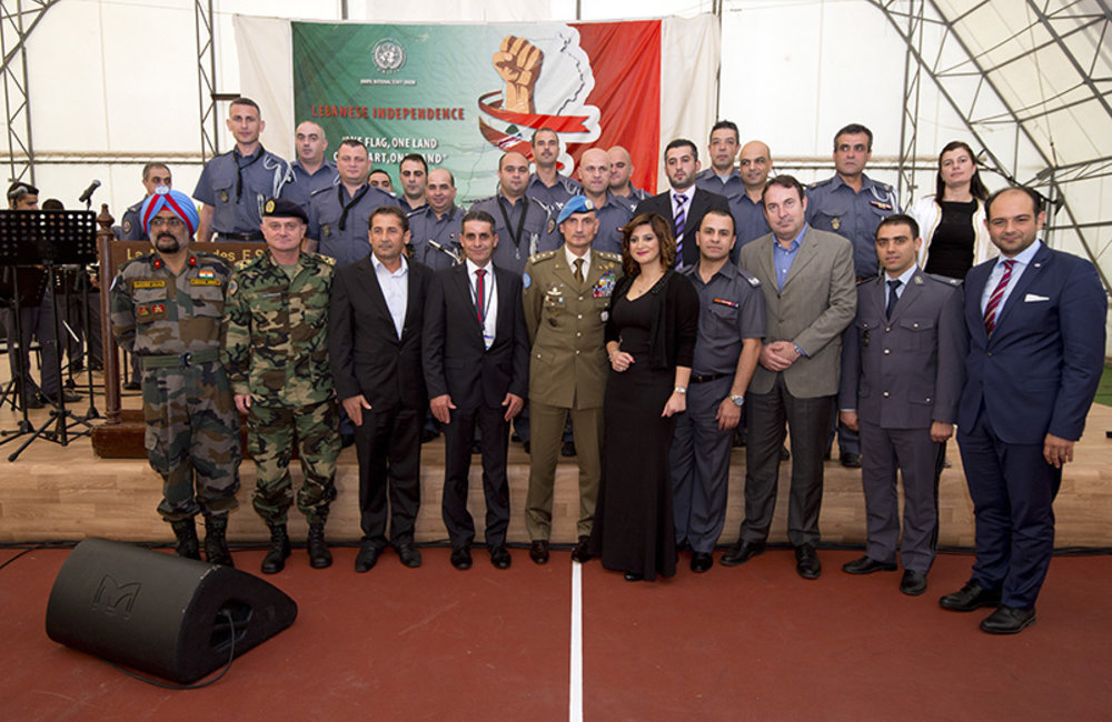 UNIFIL leadership, National Staff Union representatives and the Internal Security Forces Music Orchestra posed together for a group photo.