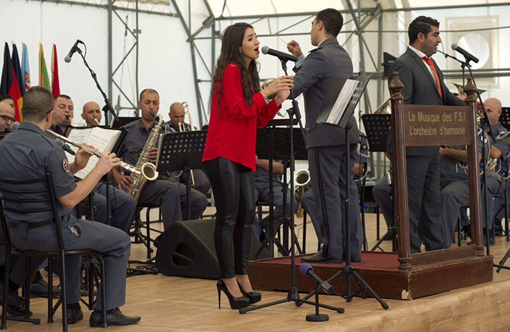 The Lebanese Internal Security Forces Music Orchestra performing during the ceremony to commemorate the Lebanese Independence Day, at UNIFIL Headquarters in Naqoura.