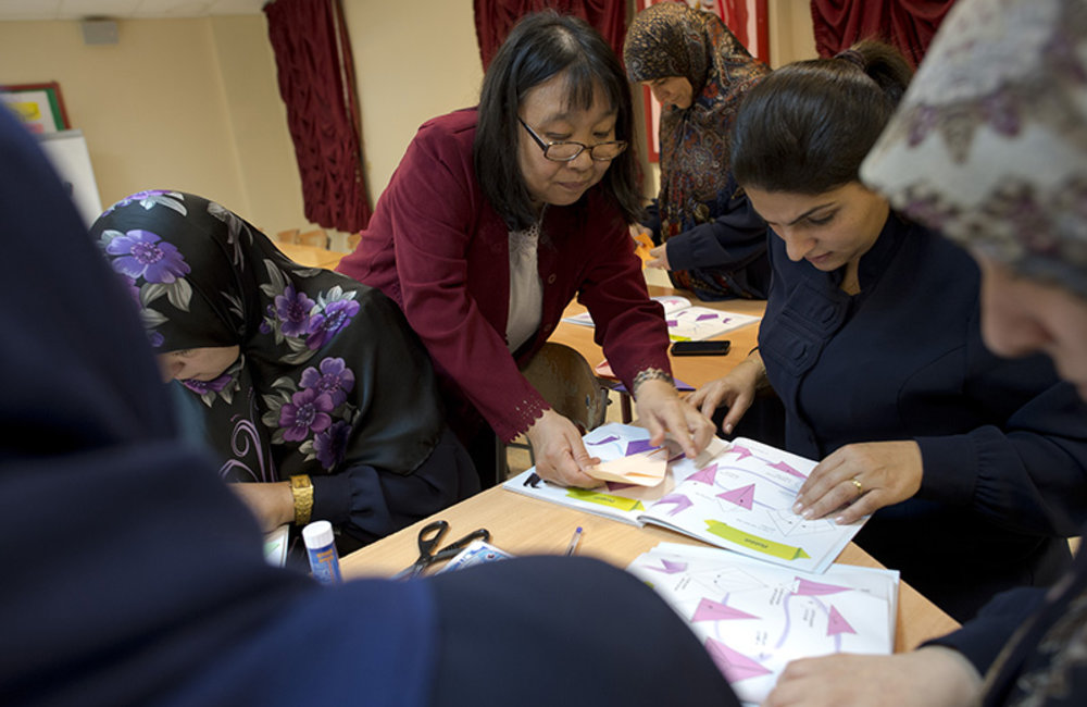 Seiko Hatakeyama, from All-One, a charity NGO engaged in promoting Origami in Lebanon, introduces Origami to teachers from -Ori means fold and gami means paper-.
