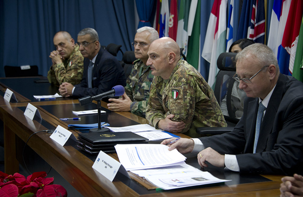 From right to left: UNIFIL Director of Mission Support Mr.Wolfgang Weiszegger, UNIFIL Head of Mission and Force Commander Major-General Luciano Portolano, LAF South Litany Sector Commander Brigadier-General Charbel Abou Khalil and LAF Intelligence Chief (Southern region) Brigadier-General Khodor Hammoud.